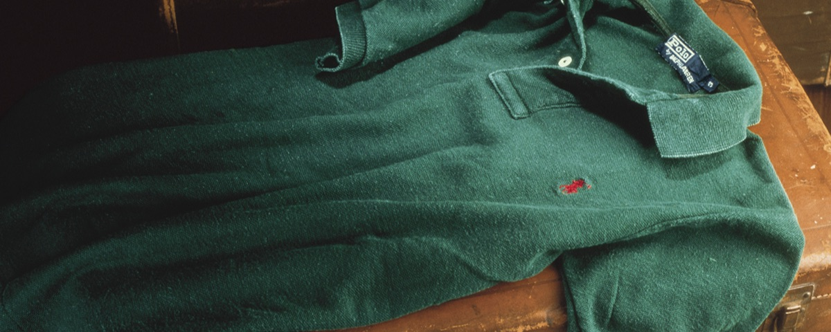 Faded green Polo shirt with red Polo Pony draped over trunk