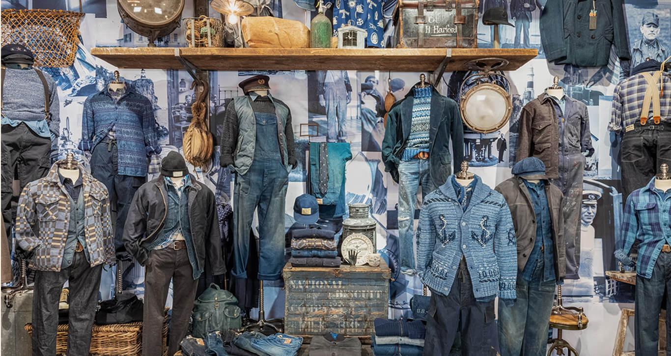 Double RL showroom featuring denim