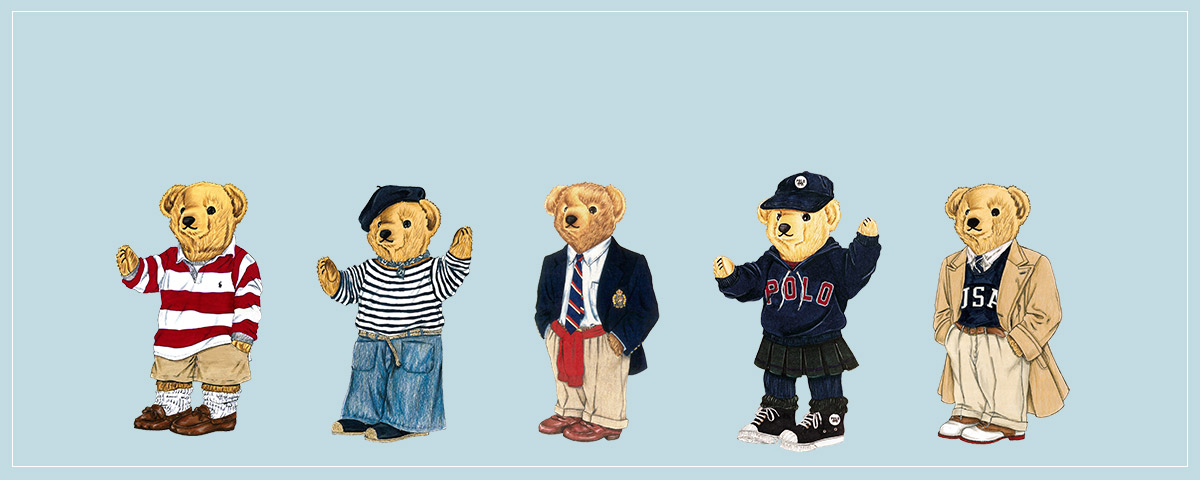 Drawings of Polo Bear in various outfits.
