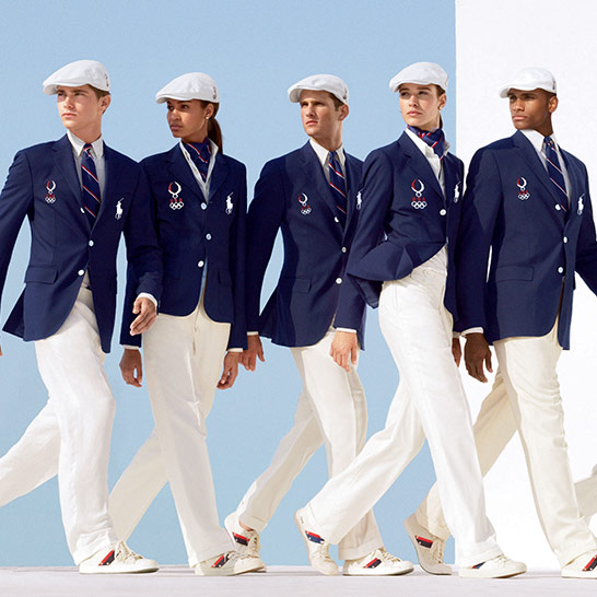 Team USA dress in RL navy blazers, white pants & white berets