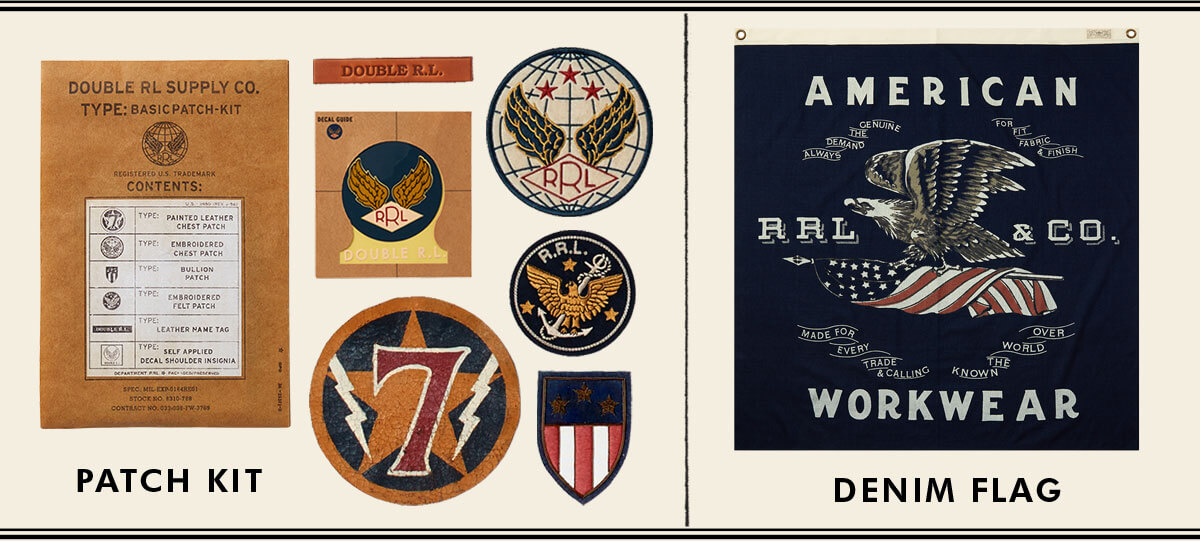 Military-inspired patch kit & indigo flag-inspired bandanna