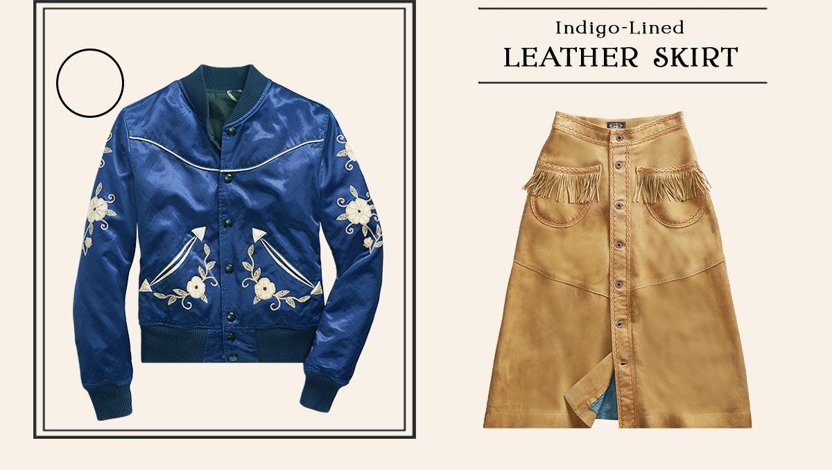 Blue satin jacket fringe leather skirt & red Western shirt