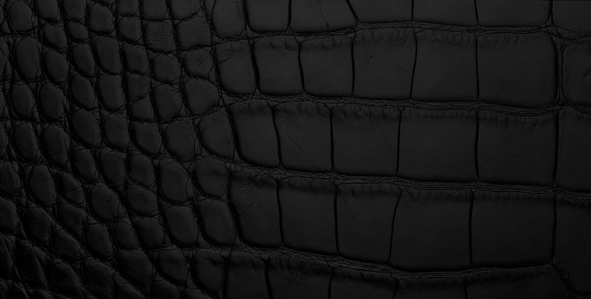 Detail shot of croc-embossed black leather
