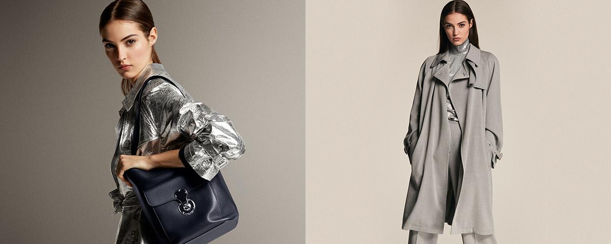 Model in long-sleeve metallic sheath dress & jacket