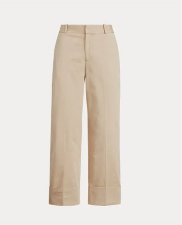 Wide-leg tan pants with rolled cuffs