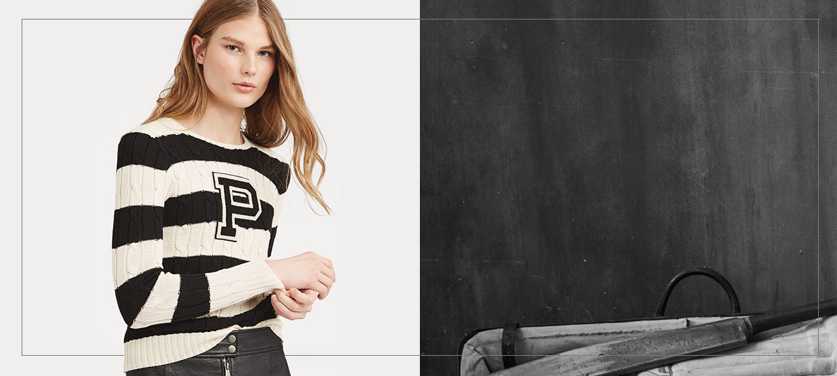 Model in striped black & white sweater with large P patch