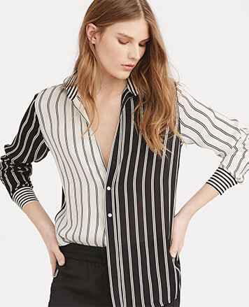 Model in striped patchwork button-down shirt