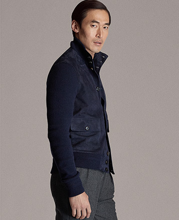 Suede-Front Cashmere Cardigan