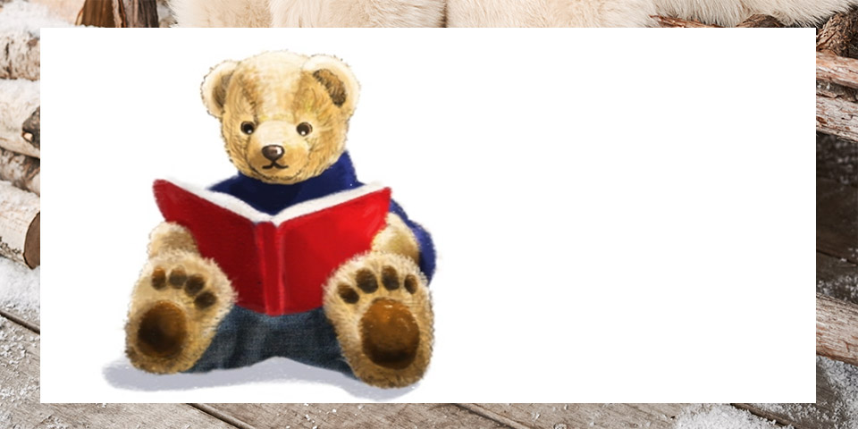 Drawing of Polo Bear reading a book.