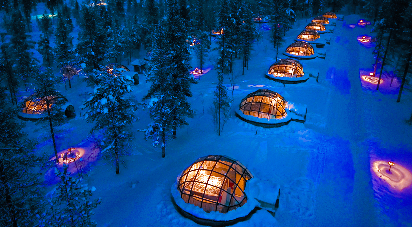Kakslauttanen's glass igloos offer sweeping views of the night sky.
