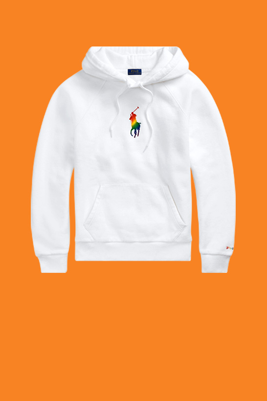 Harper Watters in white hoodie with large rainbow Polo Pony graphic