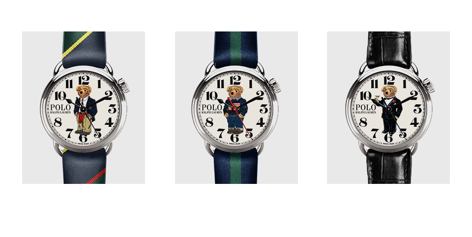 Watch with Preppy Bear on the face. Watch with Flag Bear on the face. Watch with Martini Bear on the face.