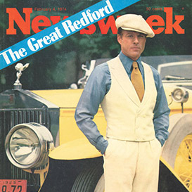 Newsweek cover showing Robert Redford as Jay Gatsby in RL apparel