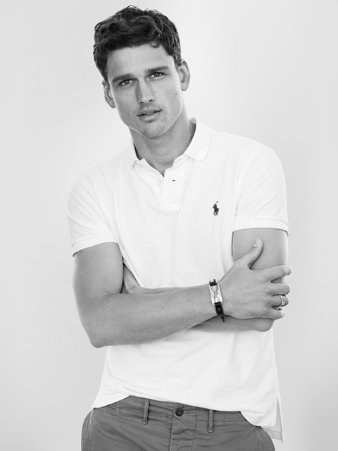 Man modeling Custom Slim Fit Polo shirt