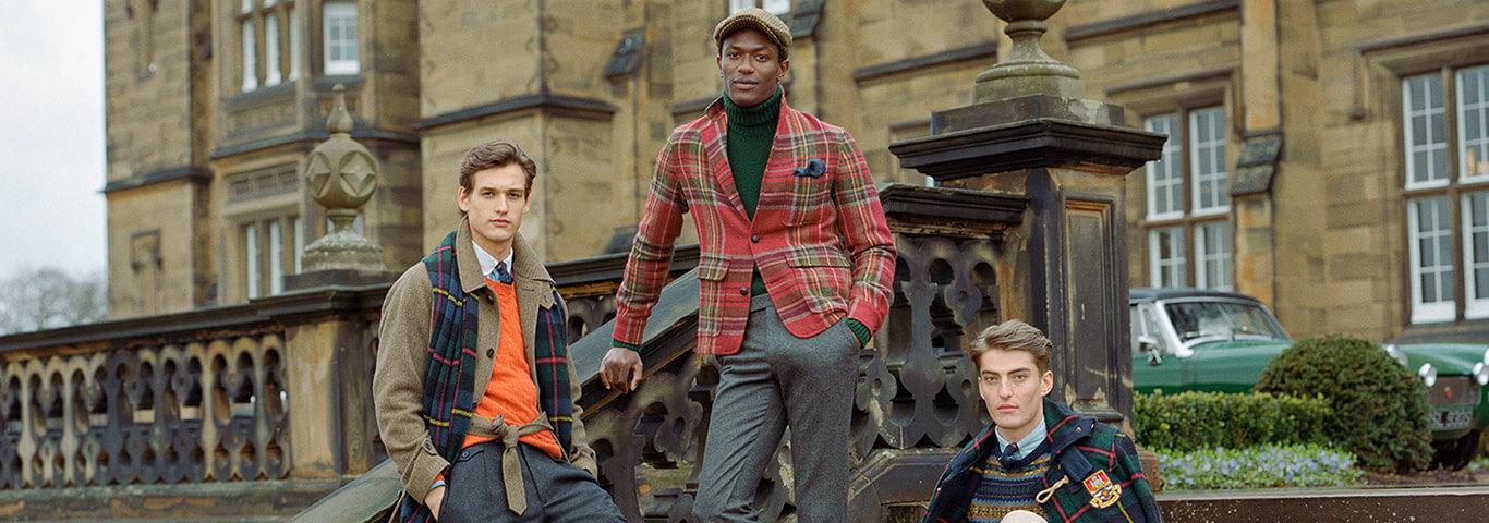 Men in plaid & autumn-hued outerwear & formalwear