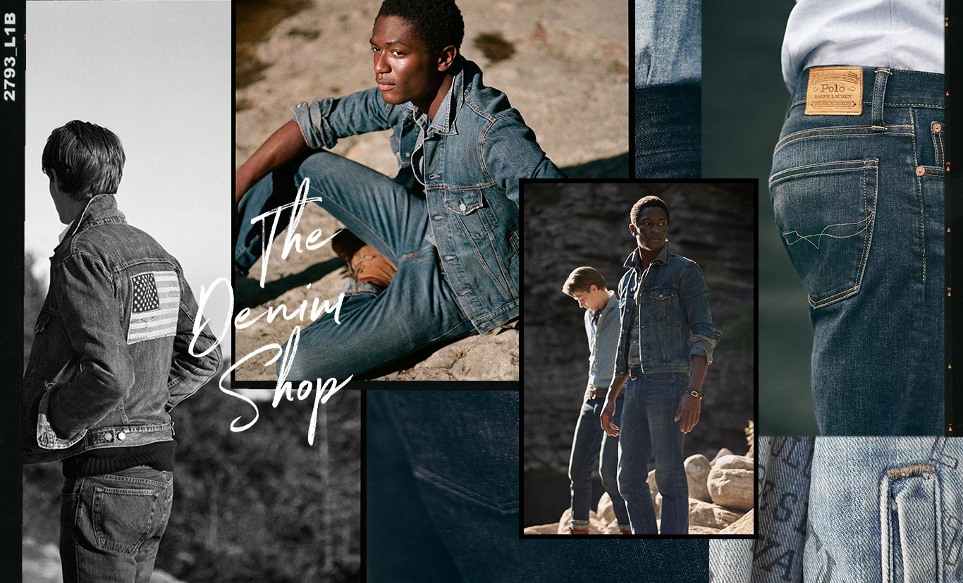 Collage of men sporting various Polo denim looks.  Copy: The Denim Shop