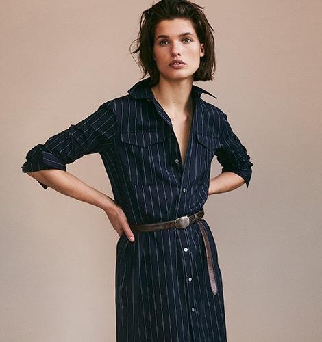 Pinstripe Wool Shirtdress