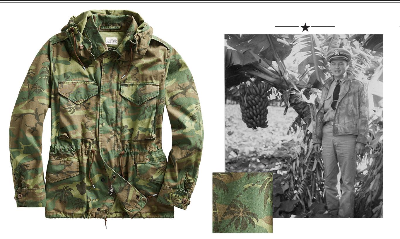 Camo- and palm tree–print hooded jacket