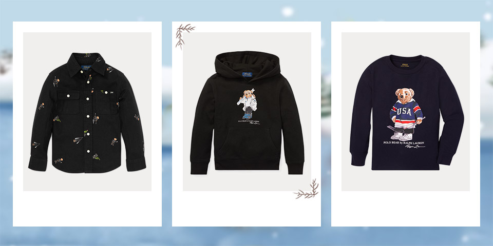 Long-sleeve button-down shirt with Winter Bears all over. Black hoodie with Polo Bear with skis at the front. Long-sleeve tee with Polo Bear dressed in hockey attire at the front.