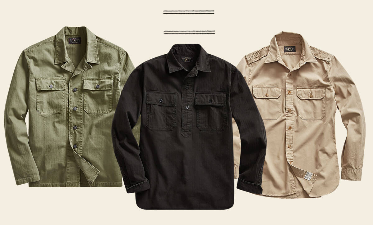 Button-down shirts in army green, black & beige