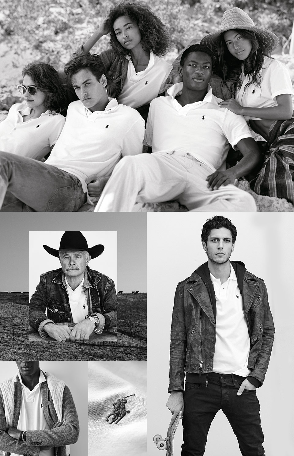 Collage of men in Polo shirts looks from casual to preppy
