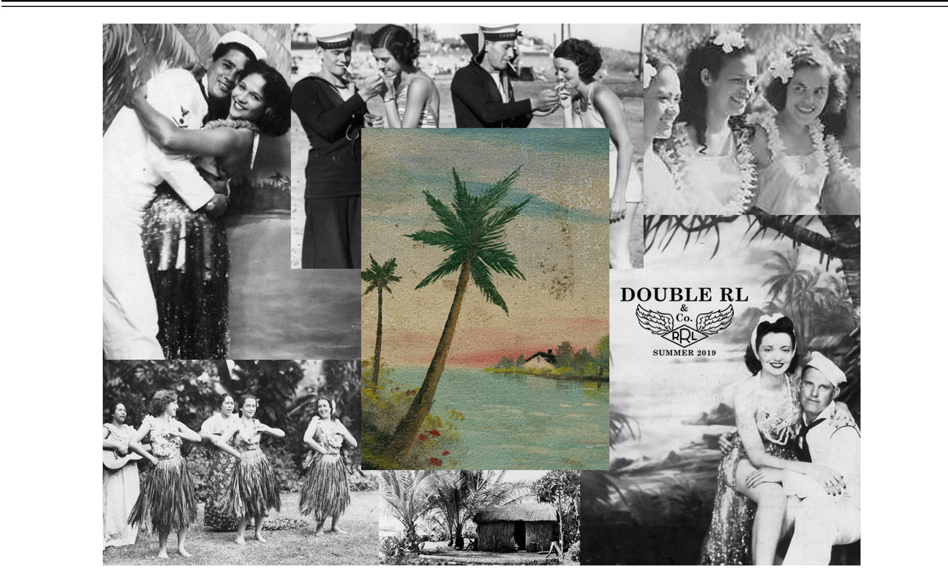Collage of vintage photographs of sailors & women in Hawaii