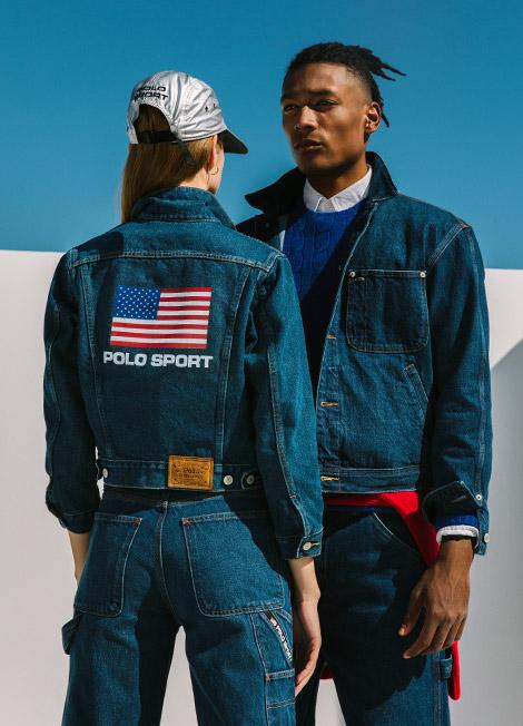 Man & woman in Polo Sport denim jackets