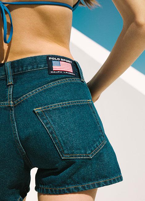 Woman in Polo Sport denim shorts & bikini top