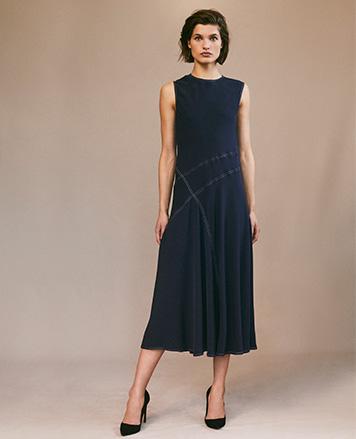 Twill A-Line Midi Dress