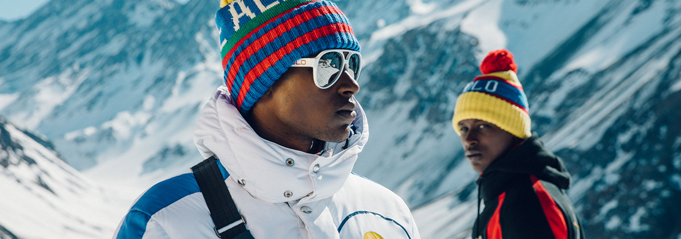 Men on mountain in Polo Downhill Skier collection apparel & accessories