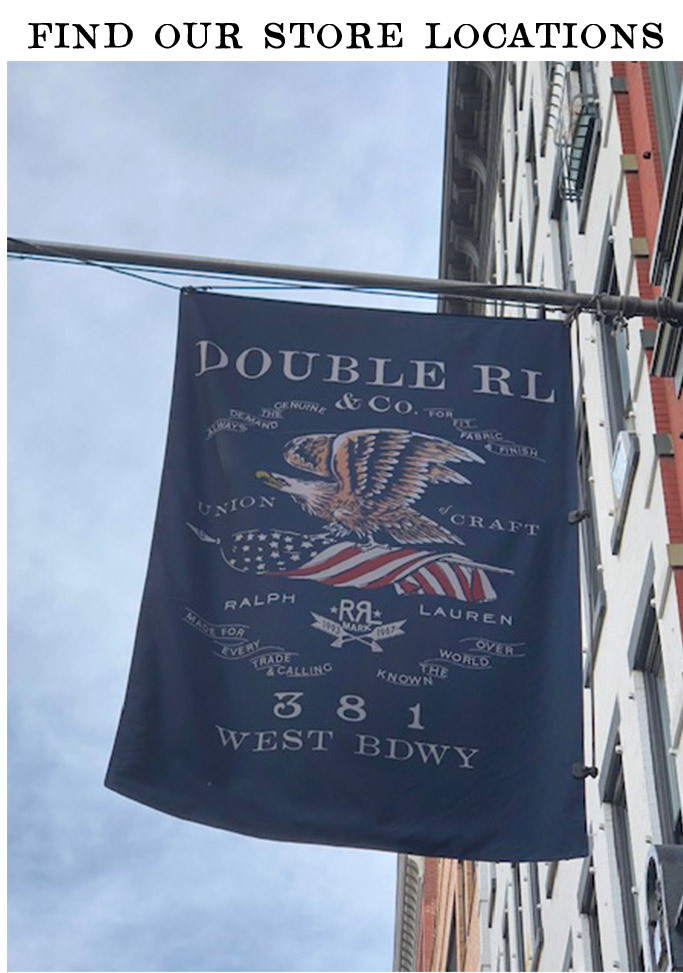Interior of Double RL store & Double RL flag outside store