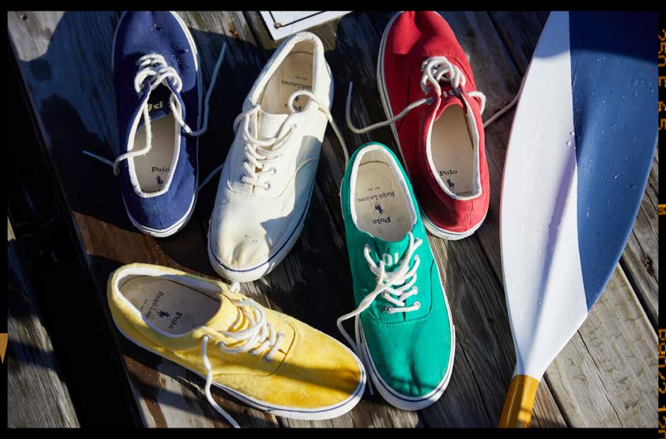 Colorful canvas lace-up sneakers on dock